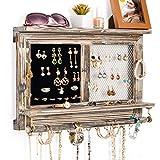 Sunix Organizador de Joyas rústicas, Soporte para Joyas montado en la Pared Expositor - Soporte para Pendientes, Collares y Pulseras, gris rústico