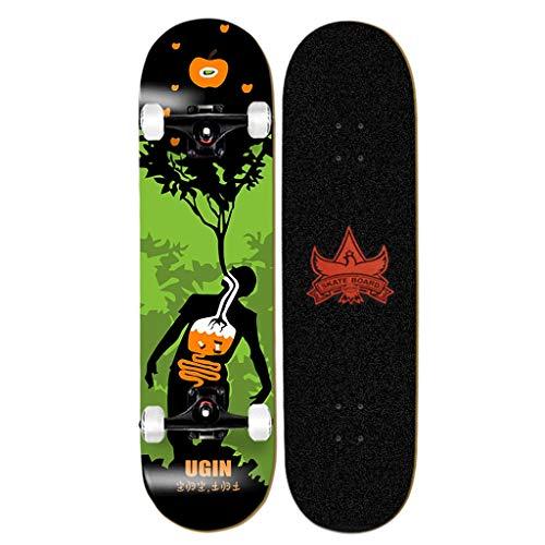 XFR Skateboard Complete Skateboard Terminado Producto Competencia Especificaciones Principiante Adulto Avanzado Adultos Completa Cubierta con Llave de Skate (Color : B, Size : 80x20cm)