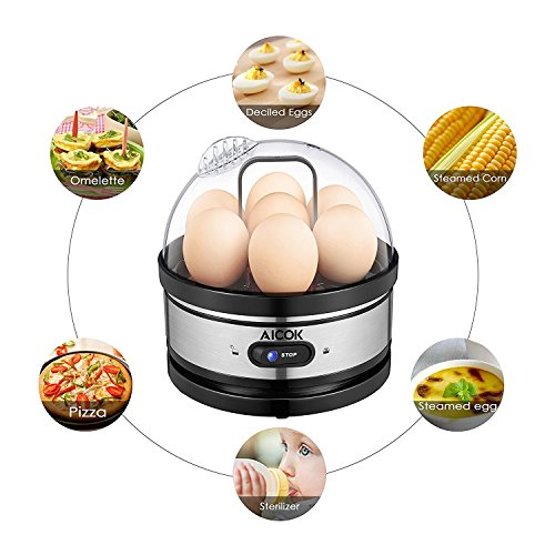 Aicok Egg Cooker, Egg Boiler, Electric Egg Maker with Steamer & Poacher Attachment, Egg Steamer Stainless Steel 7 Egg Capacity With Removable Tray