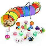 Juguetes para gatos Túnel de gatos - 20 piezas Kitten gatos de interior Juego de juguetes interactivos para ratones Juego de bolas y campanas Juguetes Plumas Varita Juego de juguetes para gatito