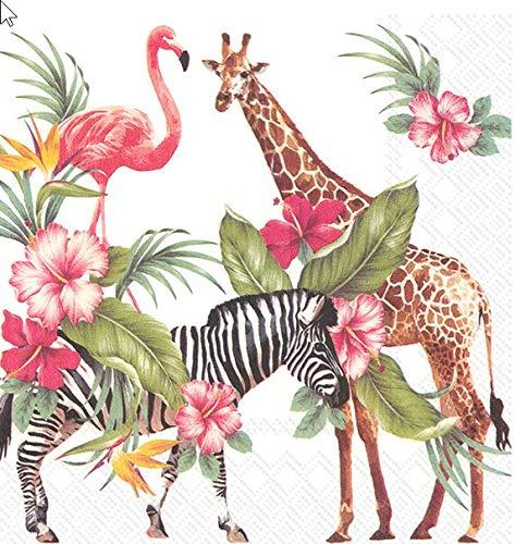 20 servilletas Safari en África, cebra, jirafa, flamenco, animales, 33 x 33...