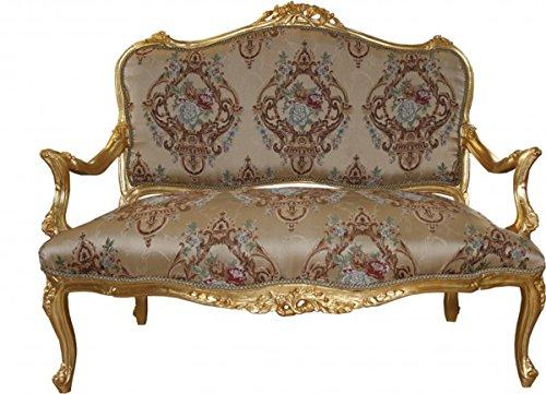 Barock Sofa Creme Muster/Gold - Italienischer Stil - Barock Möbel - prunkvoll und ausgefallen!