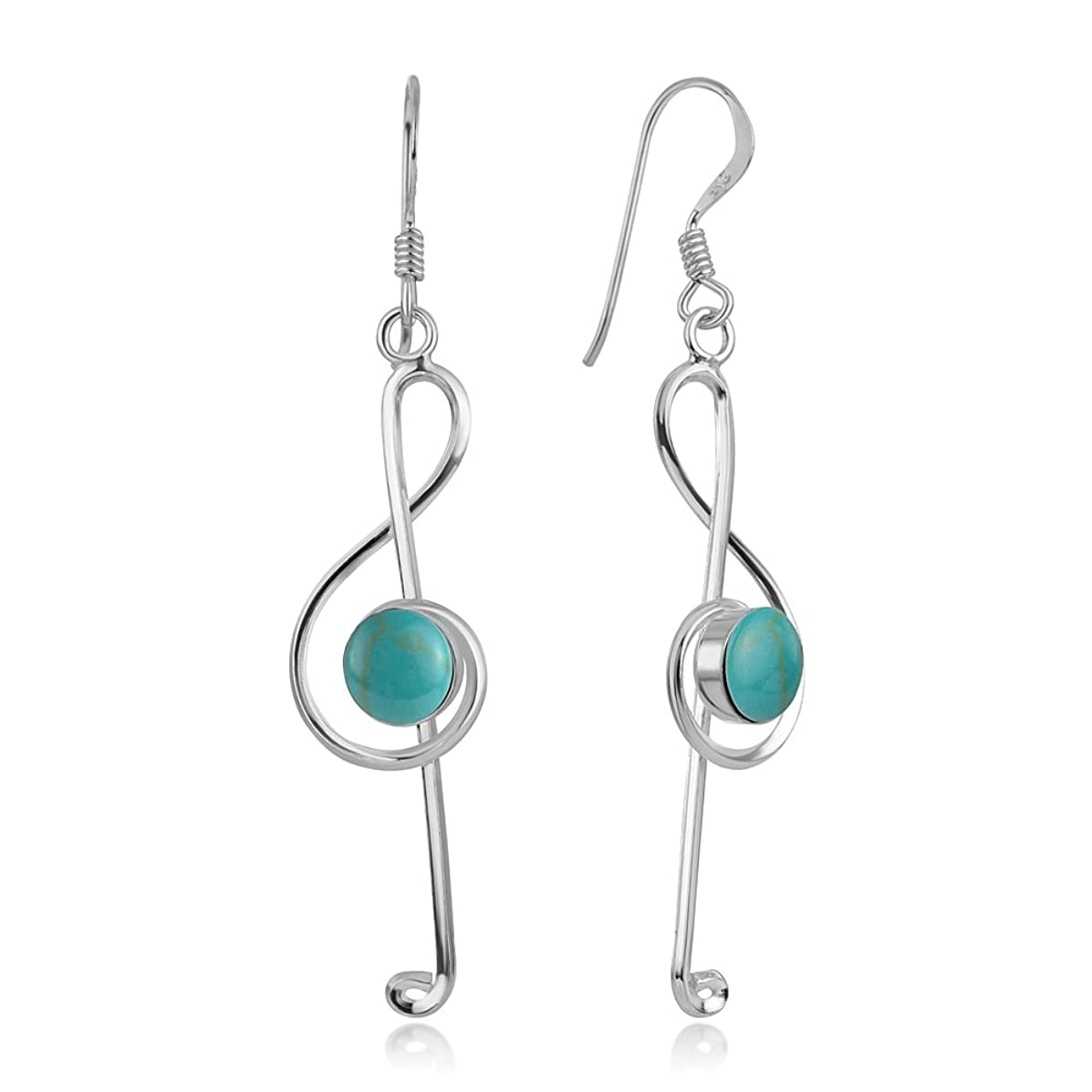 925 Sterling Silver Treble G Clef Symbol Musical Note Long Dangle Earrings 2