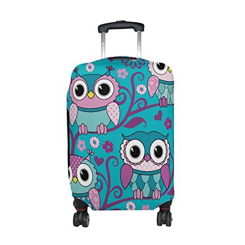 DAFARUYI Luggage Cover Owls Birds Purple Suitcase Protector Cover Elastic Fits 18-32 Inch
