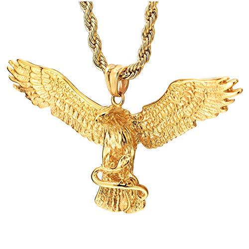 COOLSTEELANDBEYOND Color Oro águila Volando Agarrando Serpiente Colgante, Collar de Hombre Mujer, Acero Inoxidable, Cadena 75CM
