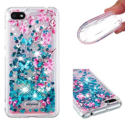 Lotuslnn Xiaomi RedMi 6A Case,Glitter Liquid Quicksand Flow Luxury Fashion Clear Transparent TPU Gel Silicone Shockproof Cover for Xiaomi RedMi 6A