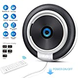 Wall Mountable CD Player with Bluetooth, Small Round Home CD Music Player with Built-in HiFi Speaker FM Radio USB Port AUX Input & Output &Remote Control