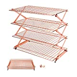 Geesta Mother's Day Gift 3/4-Tier Collapsible Cooling Rack with Adjustable 3 Setting Design Stackable Cooling Roasting Cooking for Cookies Baking - Rose Gold
