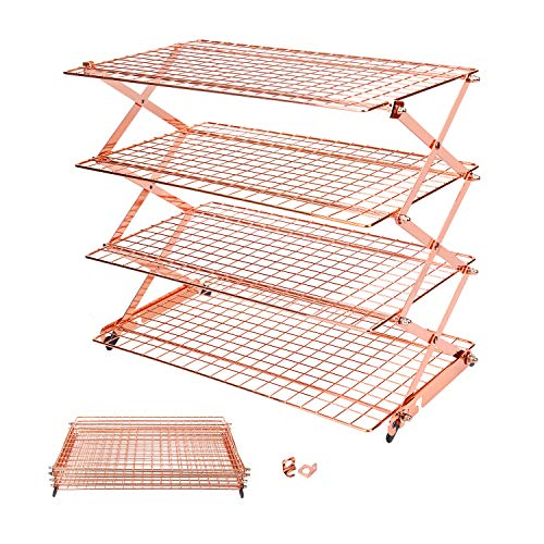 Geesta 2/3/4-Tier Collapsible Cooling Rack with Adjustable 3 Setting Design Stackable Cooling Roasting Cooking for Cookies Baking (Rose Gold)