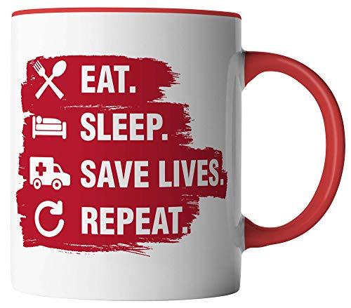 Rettungsdienst Tasse - Eat Sleep Save Lives Repeat - Geschenk für Sanitäter Paramedic - beidseitig Bedruckt - Geschenk Idee Kaffeetassen mit Spruch, Tassenfarbe:Weiß/Rot
