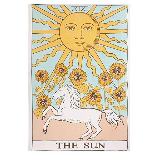 Tapiz para colgar en la pared, diseño de sol y luna misterioso medieval Europa divinación – Manta de algodón indio, mandala hippie, ropa de cama bohemia, meditación de yoga 137 x 208 cm