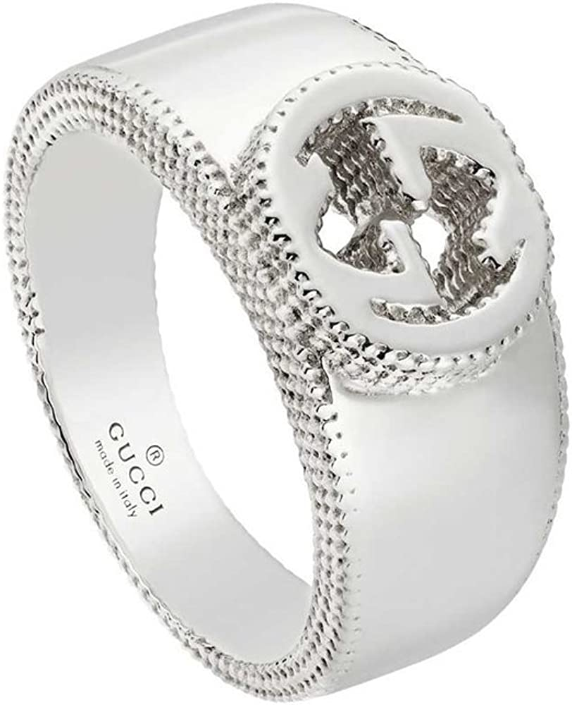 Gucci ,anello a fascia  interlocking per donna,in argento 925 rodiato YBC479228001014