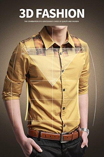 JZOEOEU Casual Slim Fit Button Down Shirt Long Sleeve Dress Shirts For Men Yellow Asian Tag XL(US XS)