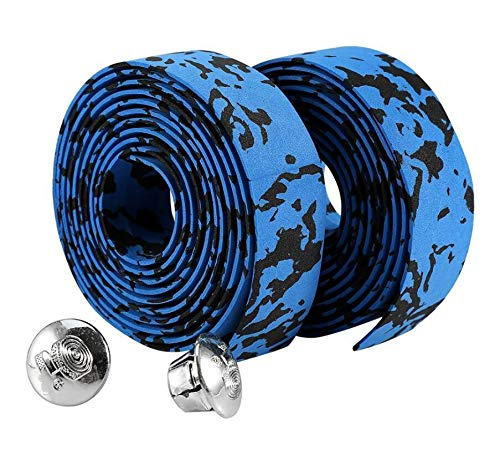 Griffe Weichschaum Radfahren Rennrad Fahrrad Lenkerband Gürtel Reflektierende Grip Wrap Anti-Rutsch-Anti-Schweißband Mit 2 Bar Plugs (Color : Blue and Black)