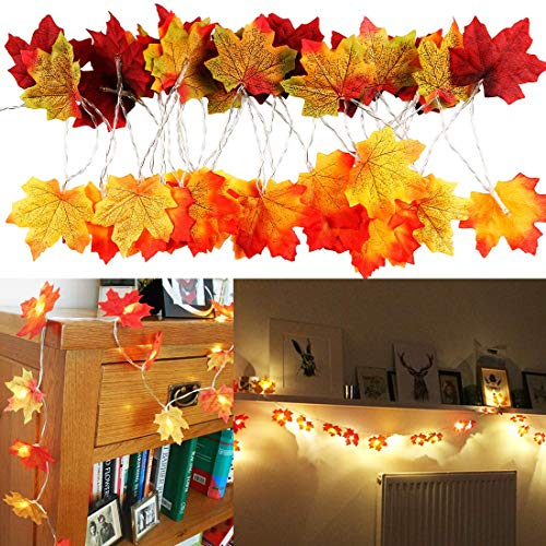 N\C QRYY Fall Decor Fall Garland 20LED Thanksgiving Fall Decorations for Home Halloween Decor Maple Leaf Light String Lights Fall Leaves Autumn Decor Indoor Outdoor Party Wedding Battery Powered