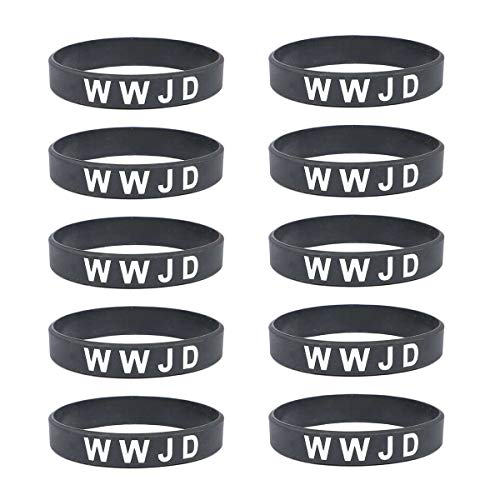 Lymhy WWJD Rubber Silicone Wristband,What Would Jesus Do Bracelet - Religous Christian Bible Fundraisers Bracelets Pack (10 Pack)