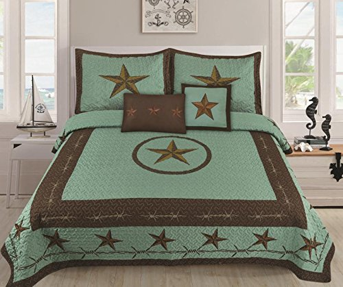 Linen Mart Western Rustic Star Barbed Wire Cowboy Quilt BedSpread - 5 PIECE SET (Turquoise, King)
