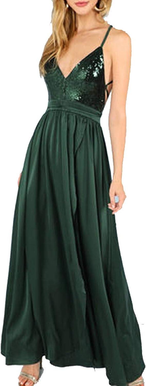 Green Sequin Split VNeck Summer Dress Waist Backless Maxi Dress Sexy Satin Women Dress