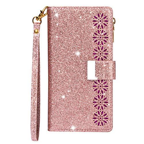 Funda para Samsung A51, con cremallera, piel sintética, silicona, con 9 ranuras para tarjetas, función atril, con purpurina, color oro rosa