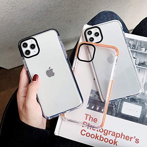 Funda para teléfono móvil Apple 12 de dos colores con anillo de espejo negro para iPhone 12 Pro Max con borde de color y funda blanda de TPU transparente a prueba de caídas