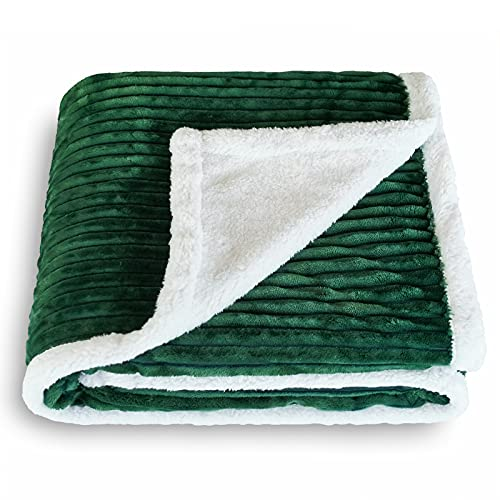 SOCHOW Sherpa Fleece Throw Blanket, Super Soft Fluffy Warm Stripe Plush Blanket for Sofa Couch Bed Green 50 x 60 Inches