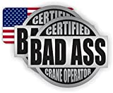 Pair - Bad Ass Crane Operator plus 1 American Flag Hard Hat Stickers | Helmet Decals Labels Toolbox Dozer Bulldozer Lift Boom Truck Fall Harness USA Old Glory America