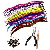 Lvcky Kit de extensiones de pelo sintético con 52 colores surtidos sintéticos con punta ...