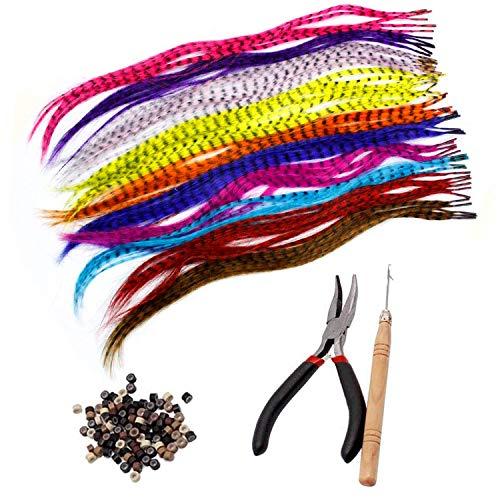 Lvcky Kunsthaarverlängerungs-Set mit 52 synthetischen Haarverlängerungen in verschiedenen Farben, 100 Perlen, Zange und Haken (kräftige und hübsch gemischte Farben)