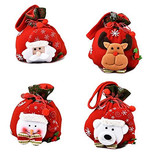 ZARRS Bolsas de Dulces Navideños, 4 Piezas Saco de Navidad con Cordón Bolsas de Dulces Navideños para Regalos de Fiesta de Navidad