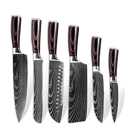 SASCD Establecer Cuchillo Cuchillo de Cocina Japonesa de 8 Pulgadas Damasco patrón de Chef Cuchillo de Cuchillo Afilado Herramienta de Cuchillo de Utilidad (Color : 6pcs A)