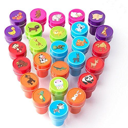 XIAOYAO Stempel Kinder Set Selbstfärbende Stempelset Tiere ab, Grün, Blau, Lila, Rot, Orange und Pink, 2,5 4 cm