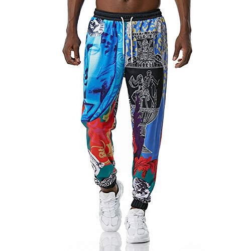Huntrly Pantalones Casuales para Hombre, Moda 3D, Estampado Retro, Cintura elástica étnica, Pantalones Casuales, Playa, Ocio, cómodos Pantalones de Yoga M