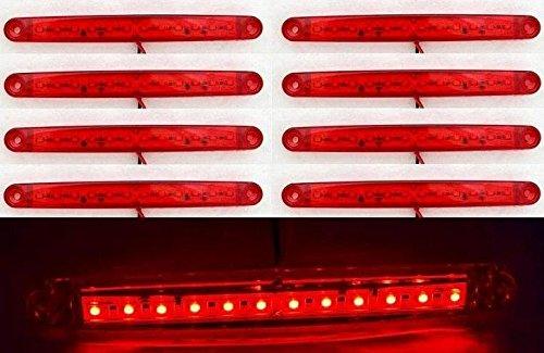 8 pièces 24 V 12 LED côté arrière Marqueur Rouge LED pour camion remorque Caravane