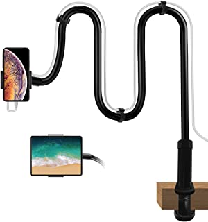 Gooseneck Phone Holder with Clamp, Gooseneck Cell Phone Stands, Flexible Overhead Table Stand, Long Arm Headboard Bedside ...