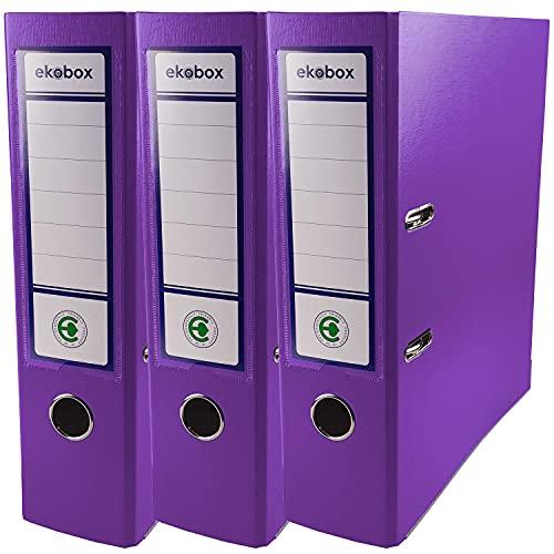 Netuno 3x Ordner Aktenordner lila 2-Ringordner Ekobox folder organiser 8cm A4 breit aus Pappe Karton für Büro Regal Mappen office Schreibtisch