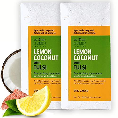 Elements Truffles Toasted Coconut Chocolate Bar with Lemon & Tulsi - Dairy Free Chocolate Bars - Paleo Friendly, Gluten Free, Non-GMO, Raw, Organic - Ayurveda Inspired Healthy Chocolate Bar - 2 Pack