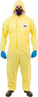 ChemSplash 1 Chemical Splash Protection Suit (Yellow) for Hazmat, Paint, and Light Duty Chemicals, Serged Seams (Case of 12) (L, Attached Hood, Elastic Wrist & Ankle)