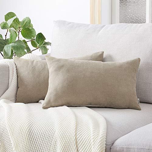 Topfinel Kissenbezüge Einfarbig Chenille Dekokissenhülle mit Verstecktem Reißverschluss für Sofa Auto Bett 2er Set 40x60 cm Kieselgrau