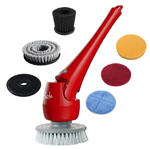 ELICTO ES-100 Electric Scrubber- Cordless Bathroom Scrubber- Multi-Purpose Head Power Scrubber for All Surfaces- Electric Spin Scrubber Patent Design- Cordless Scrubber with 5 Replaceable Heads