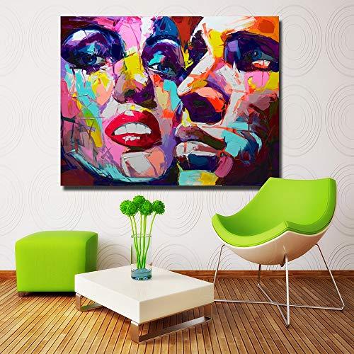 5D diamant schilderij kit kruissteek 40x50cm paar kleurrijke gezichten ed Nielly Paletmes schilder foto huisdecoratie