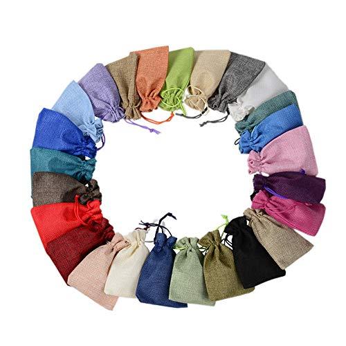 IWILCS Bolsa de arpillera de lino, colores mixtos, bolsas de regalo con bolsillo para fiestas (25 unidades, 15 x 20 cm)
