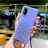WGOUT Funda con Purpurina Transparente con cordón para Samsung Galaxy A10 A20 E A21 S A30 A40 A50 A60 A70 A80 A31 A51 A71 A81 A91 M10 M20 M30 M31 Cubierta, Pruple, para A30