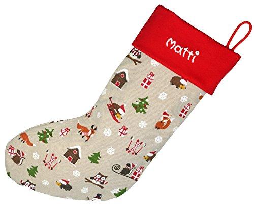 Papá Noel botas de arroz rojo, 40x 17cm Grande, calcetines de Papá Noel con nombres, Navidad Botas, Papá Noel Regalos, Papá Noel Regalos para niños. blanco weiß