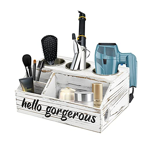 Rustic Wood Hair Dryer Holder, Hair Styling Care Tool Organizer, Bathroom Supplies Countertop Storage Stand and Vanity Caddy for Blow Dryer Flat Iron Curling Wand Hair Straightener Brushes(White)
