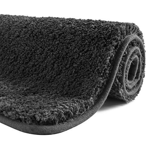 SFLXO Badematte 80cm x 50cm rutschfest-Badvorleger Maschinenwaschbar Anti-Rutsch Badteppich Weich Wasserabsorbierende Badematten Flauschige Mikrofaser Badezimmerteppich Dunkel Grau Mehrweg