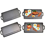 X-Large Non-Stick Cast Iron Reversible Griddle Plate Pan Double Sided for BBQ