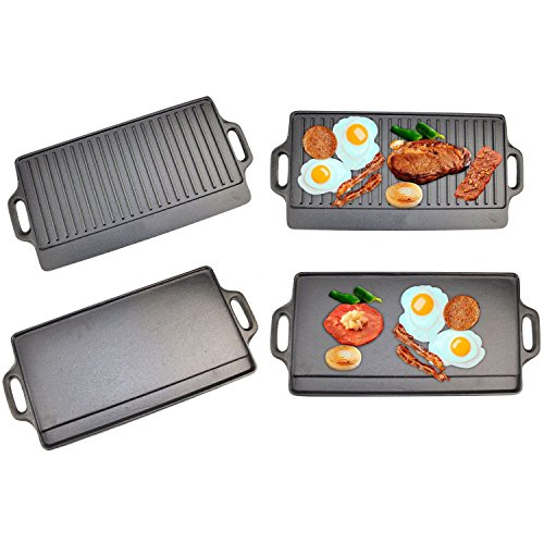 X-Large Non-Stick Cast Iron Reversible Griddle Plate Pan Double Sided for BBQ & Hob Cooking with Non-Stick Ridged and Flat Surfaces and Drip Tray, 50 x 23cm