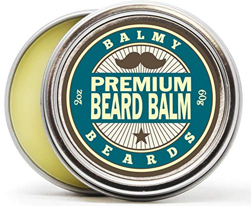 Balmy Beards Premium Best Beard Balm for Men - all Natural Organic Wax, Butter, Leave in Conditioner and Mustache Softener - Styles, Strengthens and aids Hair Growth