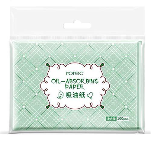ZALING 100 Pièces De Papier Buvard D'Huile Naturelle De Maquillage Papiers De Buvard Feuilles Transparentes Absorbant L'Huile Pour Les Soins De La Peau À L'Huile, vert