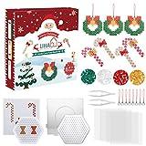LIHAO 2100 Cuentas de Navidad en Forma de Bastón de Caramelo y Guirnalda Abalorios Plásticos Cuentas para Planchar para DIY Manualidad (5mm)